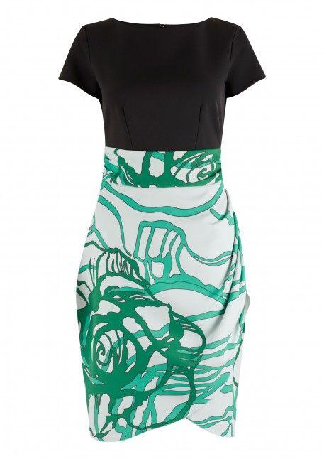 Black and Aqua 2 in 1 Swirl Print Tie Back Dress - Dresses - Clothing