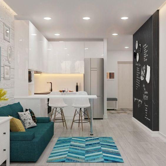 Sala Comedor Y Cocina En Un Solo Ambiente Pequeno Diseno De Sala