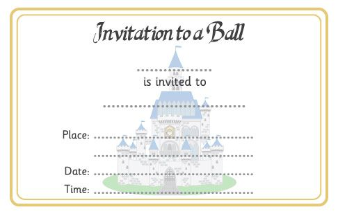 Cinderella ball invitation free eyfs ks1 resources for for Cinderella invitation to the ball template