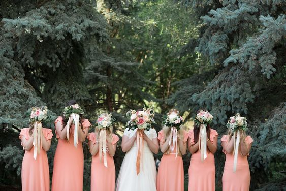 coral peach long bridesmaids dresses peach coral blush wedding bouquets flowers utah calie rose long flowing bouquet ribbon
