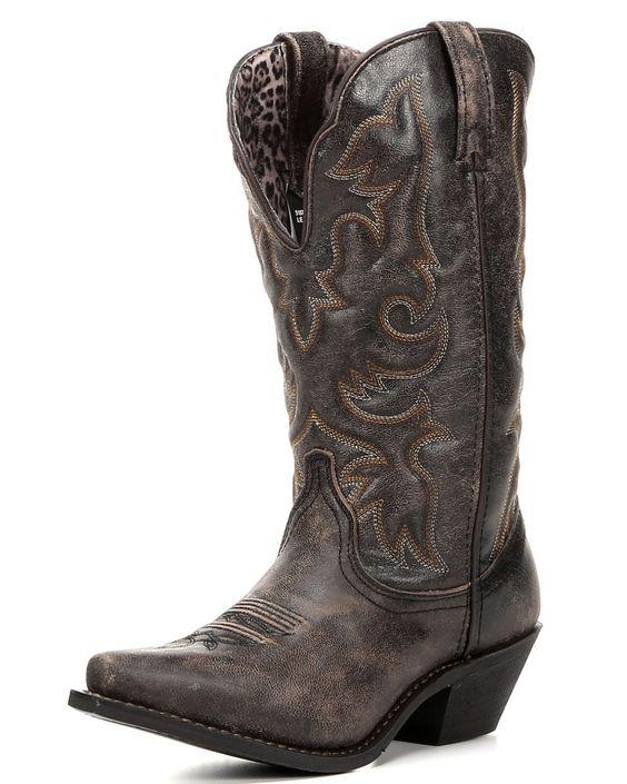 Laredo | Women's Access Deep Dip Cowboy Boot - Black / Tan | Country Outfitter