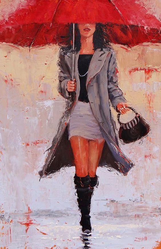 Девушка с зонтиком, Большой красный