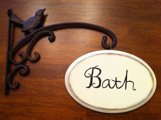 FREE SHIPPING Hanging Bathroom Sign. FREE SHIPPING Hanging Bathroom Sign   Our first home   Pinterest