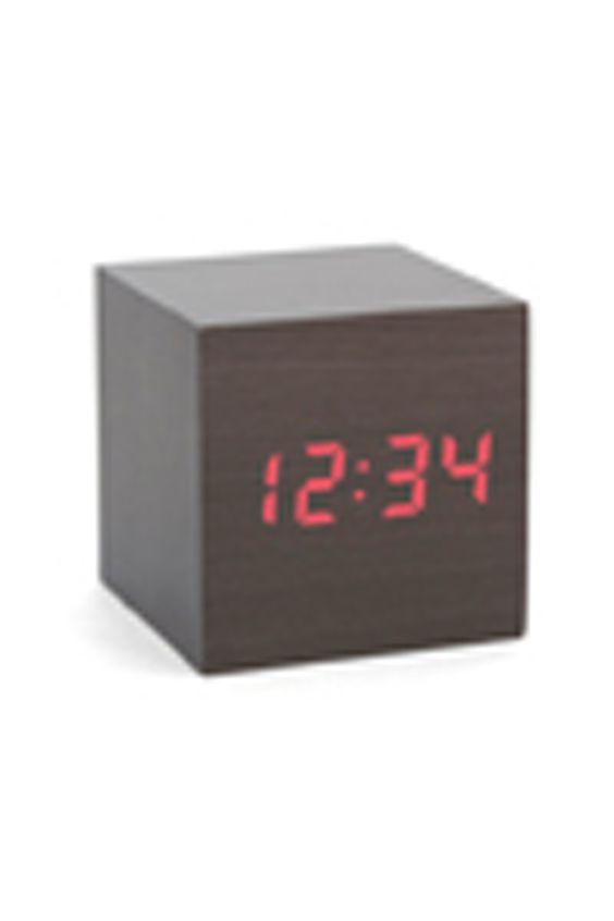 Kikkerland Alarm Clock Wood Cube Dark