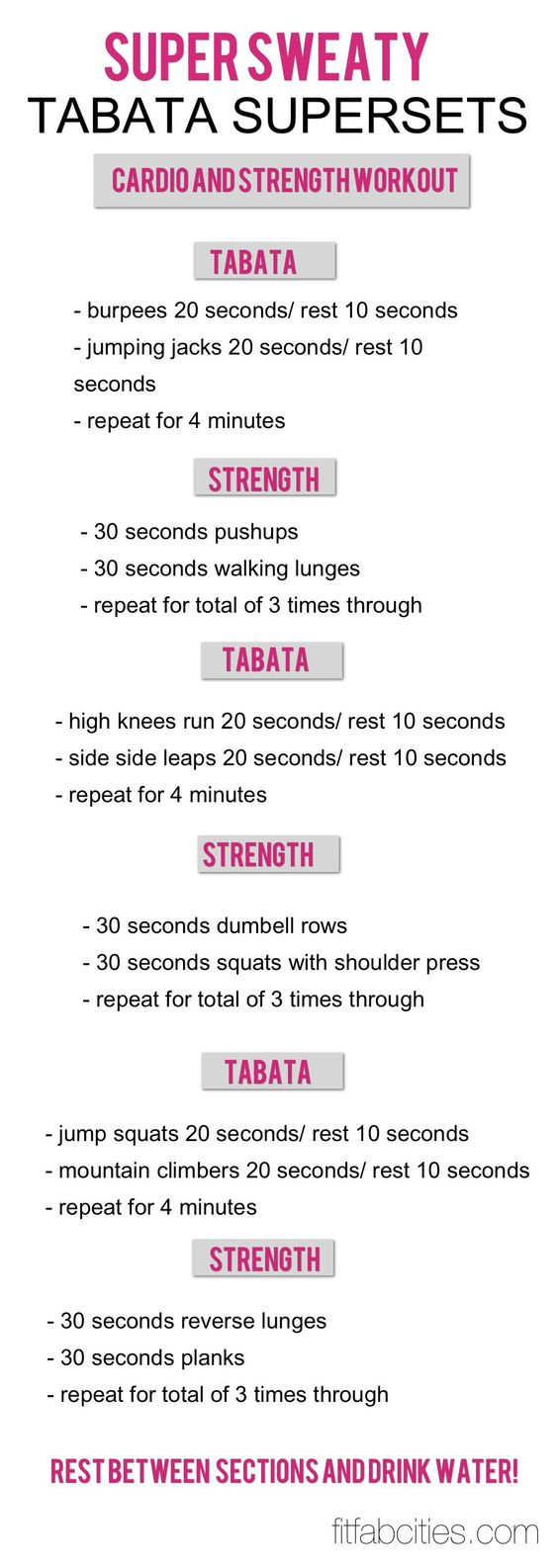 Tabata super-set workouts. (What is Tabata? Tabata interval training is an intense alternative to long cardiovascular sessions. Developed by Dr. Izumi Tabata and used to train the Japanese Olympic speed skating team. Get done in 4 minutes what would normally take you 28+ minutes. The key? Work AS HARD AS YOU POSSIBLY CAN in those 4 minutes!)