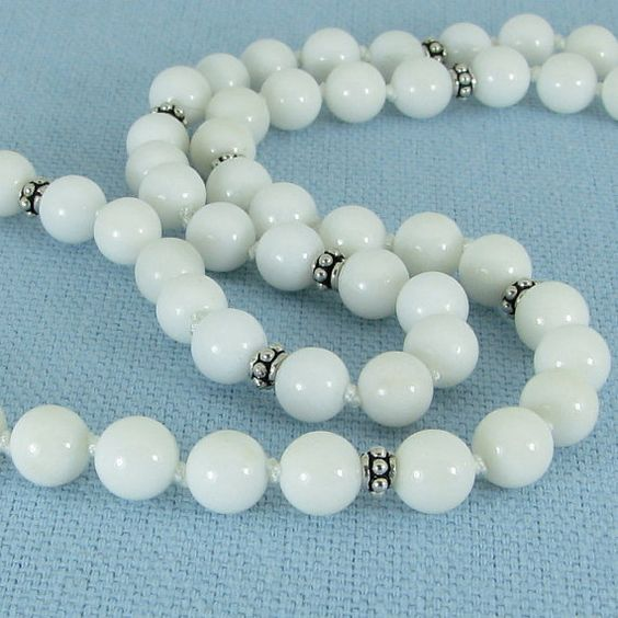 White Jasper and Sterling Silver Necklace. $33.00, via Etsy.