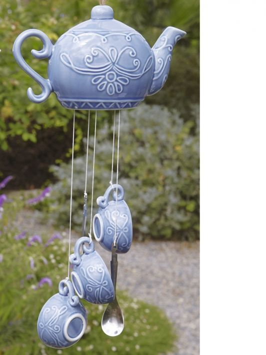 Ceramic teapot wind chime home and for Wind chime design ideas