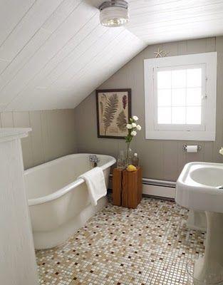 bathrooms sloped ceiling | Lilac Lane Cottage: More Cottage Bathroom Inspiration