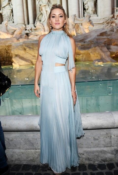 Kate Hudson looked ethereal in a powder-blue gown at the Fendi Roma 90 Year Anniversary show. See the pics!