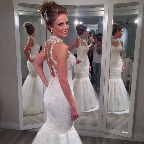 Vestido De Noiva Sereia 2015 Bride Dresses Sexy High Neck Lace Mermaid Wedding Dresses Vestido De Renda