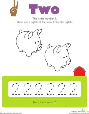Tracing Numbers: 2 | Colors, Free printables and Number worksheets