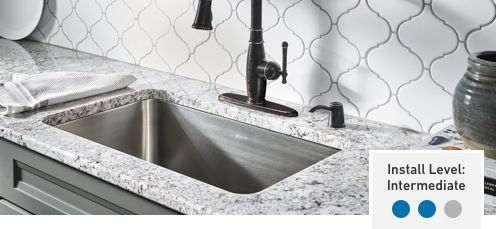 Stainless Undermount Sink With Gray Granite Countertop And White