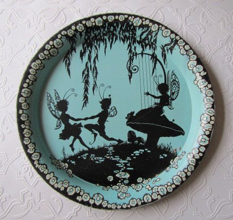 Silhouette Dancing Fairies Vintage Tin Tray Turquoise Blue