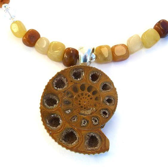 #Fossil #Ammonite #Druzy Pendant #Necklace, Yellow Jade #Handmade Jewelry by @ShadowDog #ShadowDogDesigns #Indiemade - $60.00 - SOLD *