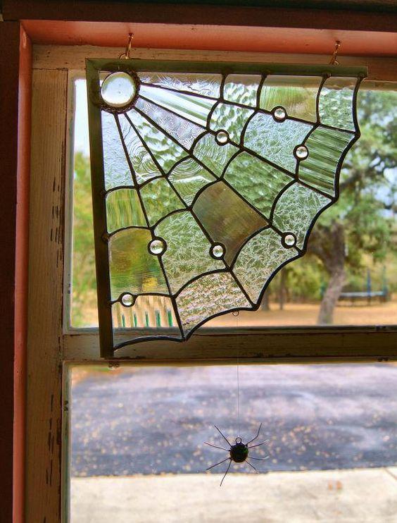 Spider Web Window Corner Stained Glass Decoration Halloween Decor - spider web halloween decoration