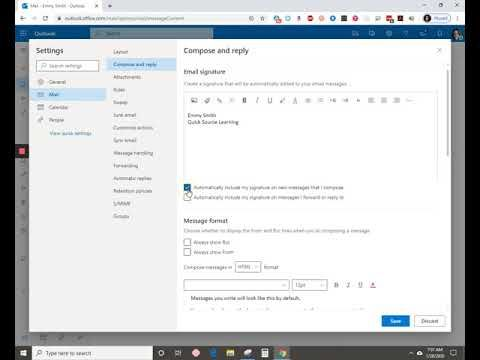 Inserting A Signature In Outlook In Office 365 In 2020 Office 365 Outlook Signature