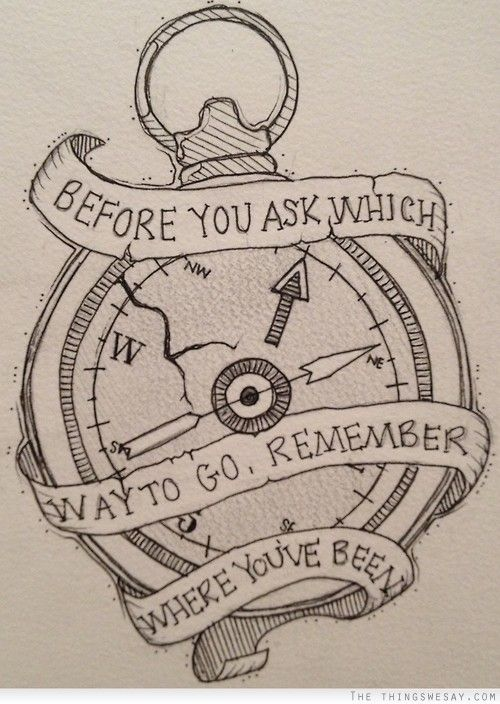 Before you ask which way to go remember where you've been...A piece that would make you think. possibly a wrist piece
