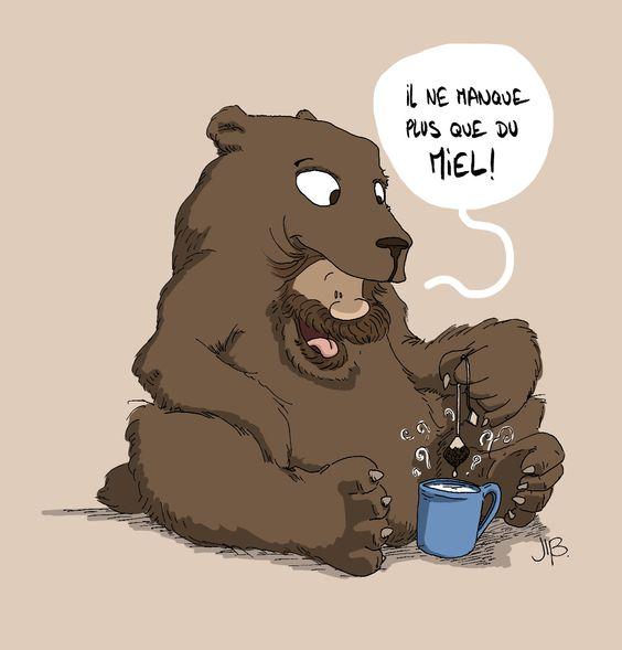 Penses à mettre un p'tit coup de miel dans ton thé ! #ours &  #Miel | #bear & #honey