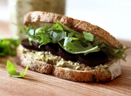 Roasted Beet and Arugula Sandwich with Green Olive Tapenade