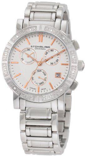 Stuhrling Original Women's 315L.12112 Regent Swiss Chronograph Diamond Silver Dial Watch: Watches: Amazon.com