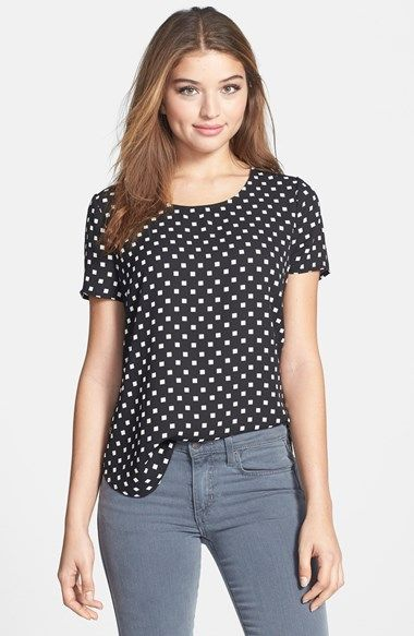 Pleione Pleat Back Woven Print Top (Regular & Petite) | Nordstrom $39