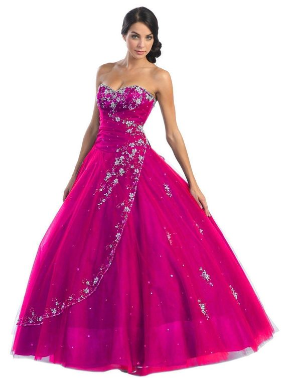 Quinceanera Strapless Tulle Prom Long Ball Gown Dress - The Dress Outlet - 14