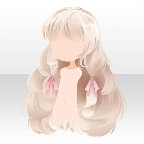 Anime Hair Light Blonde White With Pink Ribbons Fluffy And Puffy With Bangs Chibi Hair Anime Hair Manga Hair