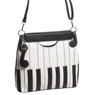 This sleek animal-friendly handbag has the look and touch of real leather, with embroidery detail on the keyboard design, and subtle eighth notes holding the shoulder strap.Vinyl, 12: