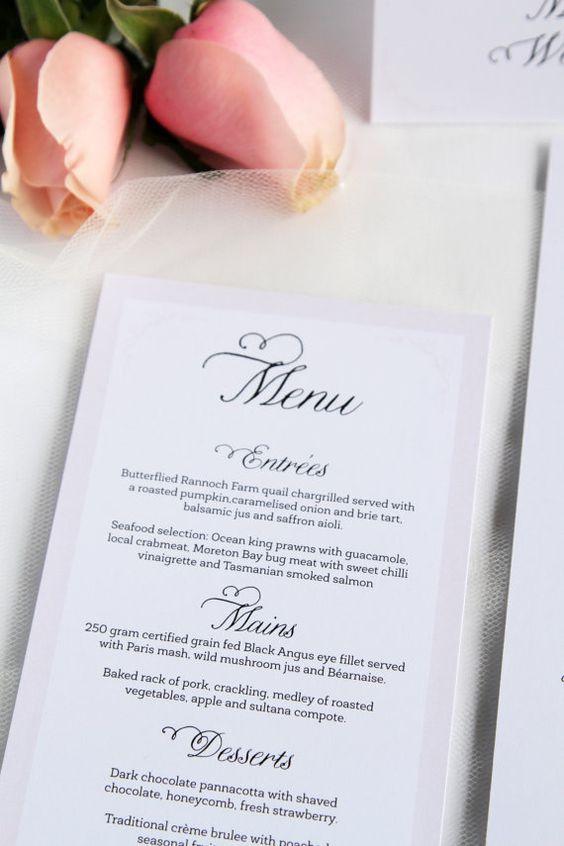 Digital File or Printed Wedding Menus by ParadiseInvitations
