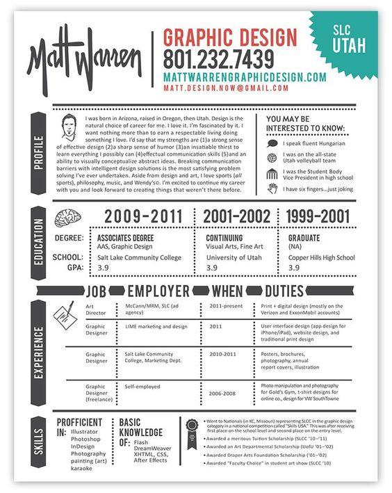 Resume design \ layout Resume Design Pinterest Design - sample resume of graphic designer