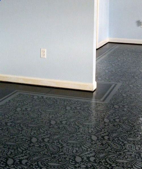 painted plywood floor. Perfect solution for the attic and the in law kitchen
