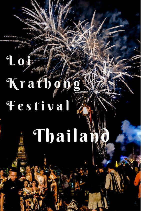 Celebrating Loi Krathong Festival Chao Phraya Bangkok Thailand