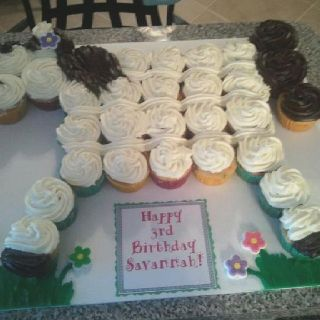Horse cake made out of cupcakes(: