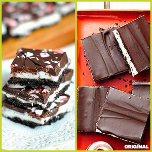 Peppermint Cream Bites These chocolate and mint layered dessert bars ...