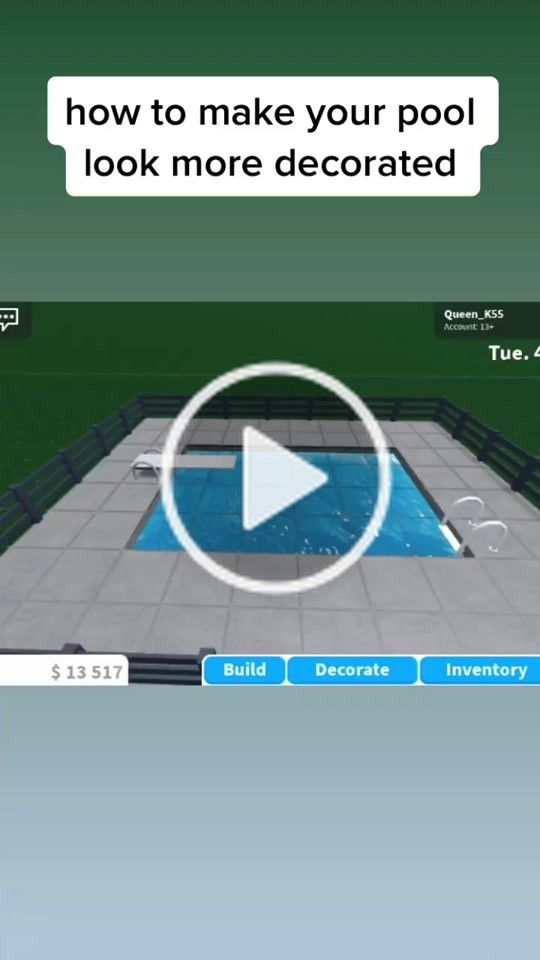 Bloxburg Honeymoonbuilds On Tiktok How To Make Your Pool More Decorated Made By Queen K5 House Plans With Pictures Tiny House Layout Unique House Design
