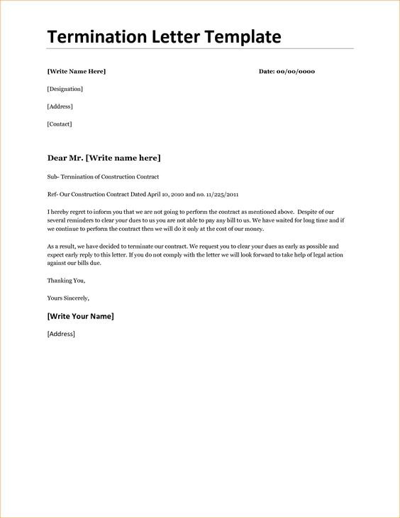 Contract Termination Letter Template Timeline Letters How Write Sample Cancellation Free