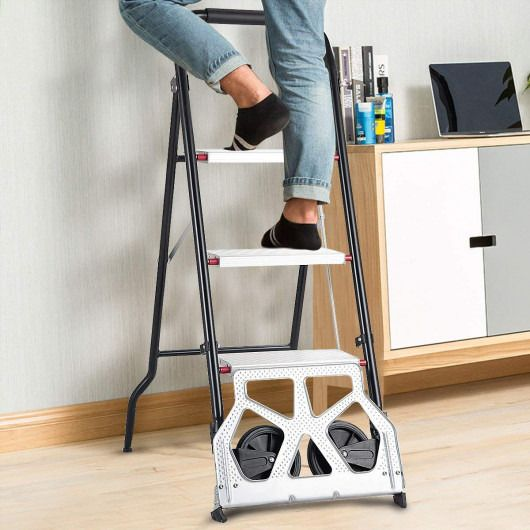 Goplus 2 In 1 Convertible 3 Step Ladder Hand Truck With Two Wheels 3 Step Ladder Folding Cart Step Ladders
