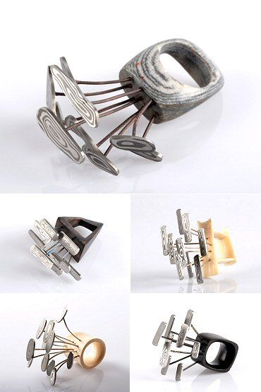 """In """"Sintered Nature,"""" Damascus steel """"flowers"""" sprout from rings made of wood, metal, and layers of cotton/linen. But before that, they sprout from the mind of Italian jeweller Angelo Verga"""