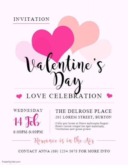 Valentine S Day Celebration Invite Flyer Valentines Day Dinner Dinner Invitation Template Valentines