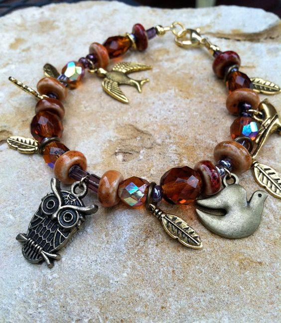 Amber Brown Crystal and Bird Charm Bracelet by browndoorgallery, $25.00