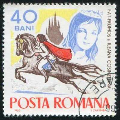 My dad and brother were collecting stamps. We had this one too (ROMANIA - CIRCA 1965: stamp printed by Romania, shows Fairy Tales, Fat-Frumos on horseback and Ileana Cosinzeana, circa 1965)