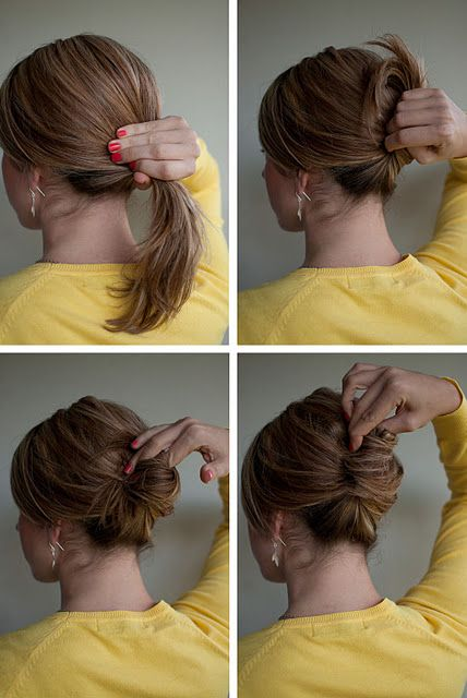 I think I could do this: Easy French Roll  Gather your hair into a low ponytail, twist your ponytail and twist it up, tuck the end of your ponytail inside to form a roll. Use bobby pins to pin in place. For a secure finish, pin from right to left, twisting the pin 180 degrees  so that you catch hair from the top but pin underneath