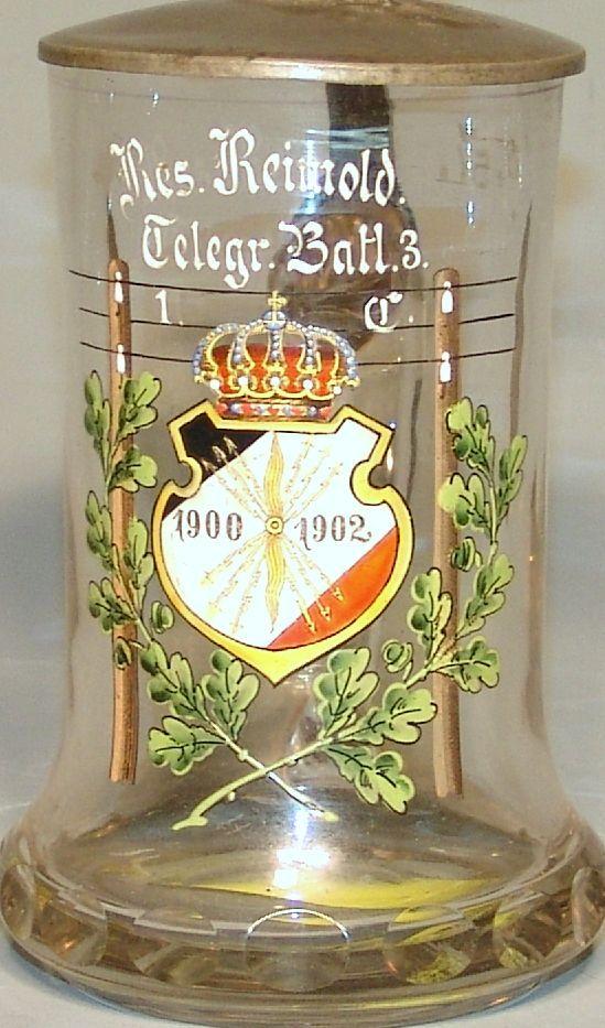 Reservistenkrug, Telegr. Batt. 3, Preussen, um 1900 in Form geblasenes Glas mit Emaillemalerei, Zinn