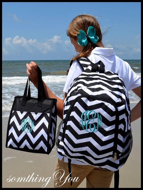 Black Chevron Personalized Backpack by SomethingYouGifts on Etsy