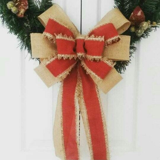 This red burlap wreath/tree topper bow is new in my shop today. Great for a rustic/country Christmas!