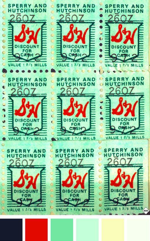 Green Chip Stamps ... We used to get these based on how much you spent at the grocery store and fill up booklets with the stamps...then you could trade them in for pretty much anything..: