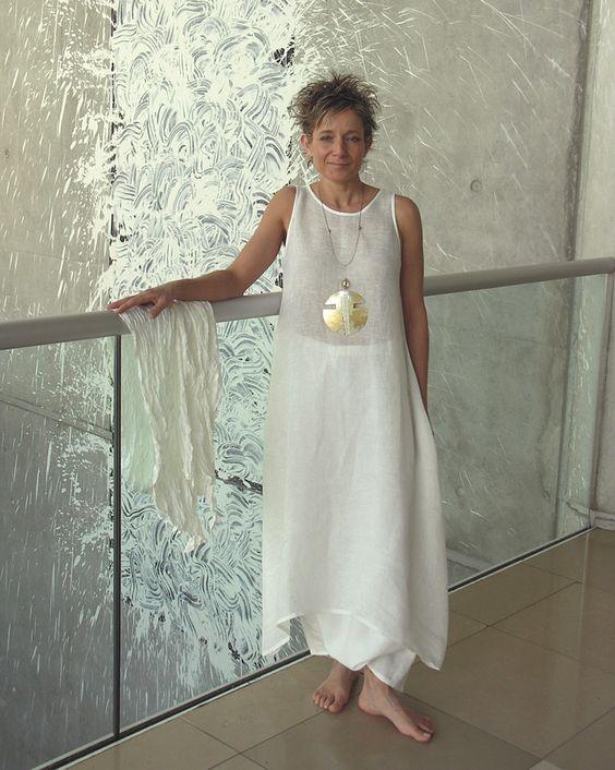 ensemble blanc en lin pour femme robe tunique en voile et. Black Bedroom Furniture Sets. Home Design Ideas