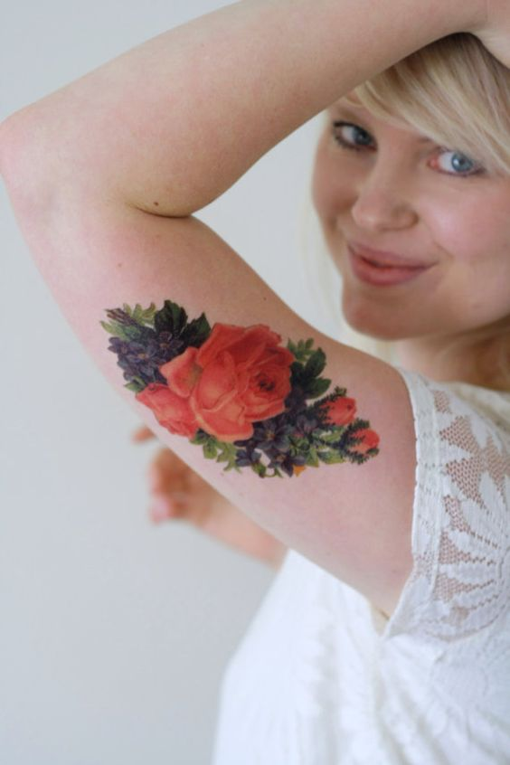 Vintage bloemen tatouage / Boheemse tijdelijke tattoo / bloem tatouage / bloemen cadeau / boho tijdelijke tattoo / festival