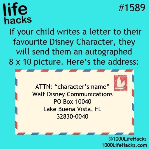 Send Mail To Your Favourite Disney Character Life Hacks 1000