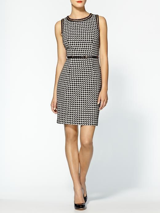 Mirren Houndstooth Dress (Noir/Ivory) ($318)